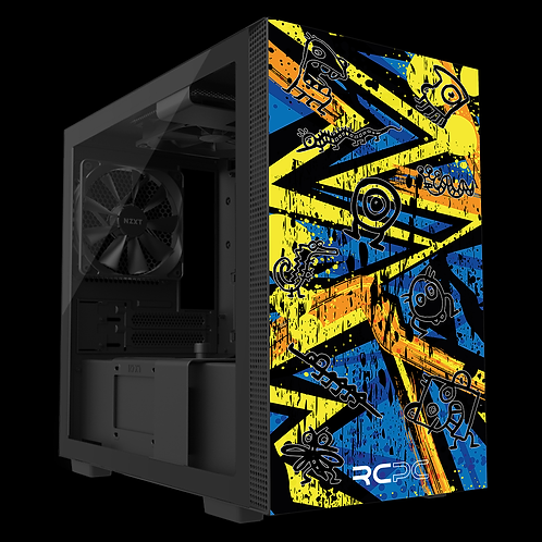 NZXT H210 Yellow-Orange-Blue Abstract Grunge Wrap