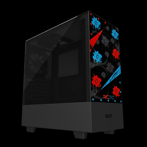 NZXT H510 Elite Red-Turquoise-Black-Grey Floral Grunge Wrap