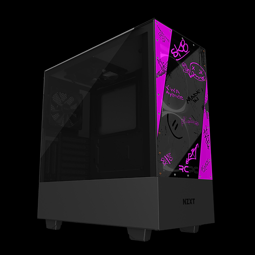 NZXT H510 Elite Pink-Grey-Black Graffiti Grunge Wrap