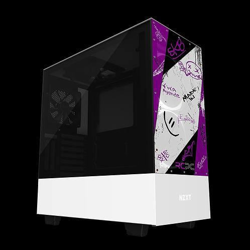 NZXT H510 Elite Purple-Grey-Black-White Graffiti Grunge Wrap
