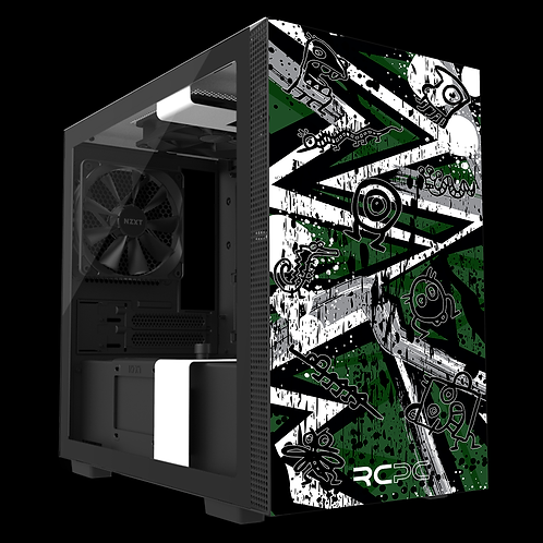 NZXT H210 Green-Grey-White Abstract Grunge Wrap