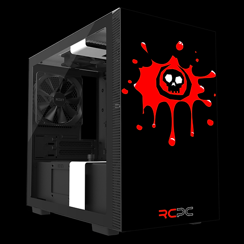 NZXT H210 Black-Red-White Skull Splat Wrap
