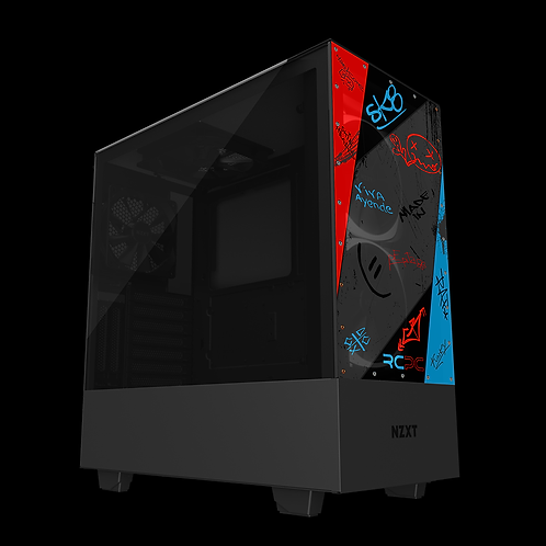 NZXT H510 Elite Red-Turquoise-Black-Grey Graffiti Grunge Wrap