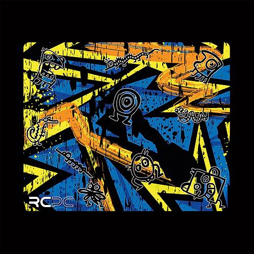 Yellow-Orange-Blue Abstract Grunge Mouse Pad