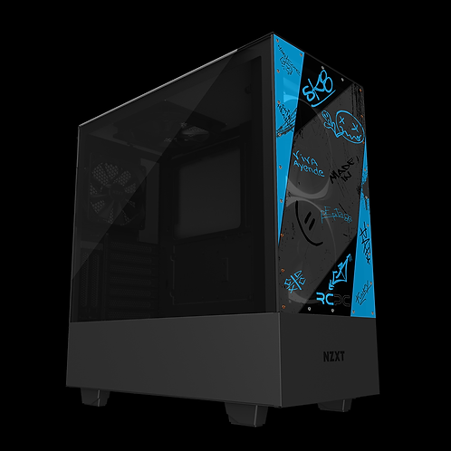 NZXT H510 Elite Turquoise-Grey-Black Graffiti Grunge Wrap