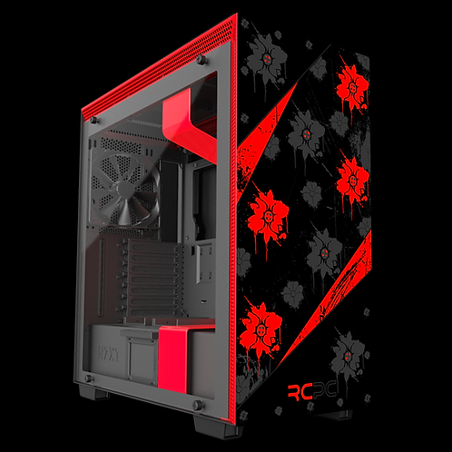 NZXT H710 Red-Black-Grey Floral Grunge Wrap