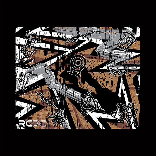 Brown-Grey-White Abstract Grunge Mouse Pad