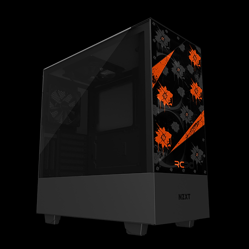 NZXT H510 Elite Orange-Black-Grey Floral Grunge Wrap