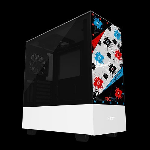 NZXT H510 Elite Red-Turquoise-Black-White Floral Grunge Wrap