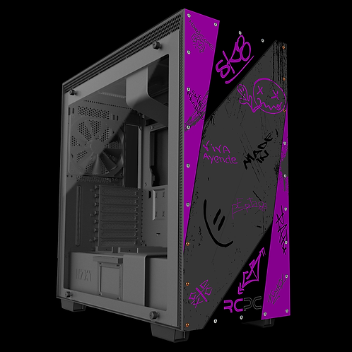 NZXT H710 Purple-Black-Grey Graffiti Grunge Wrap