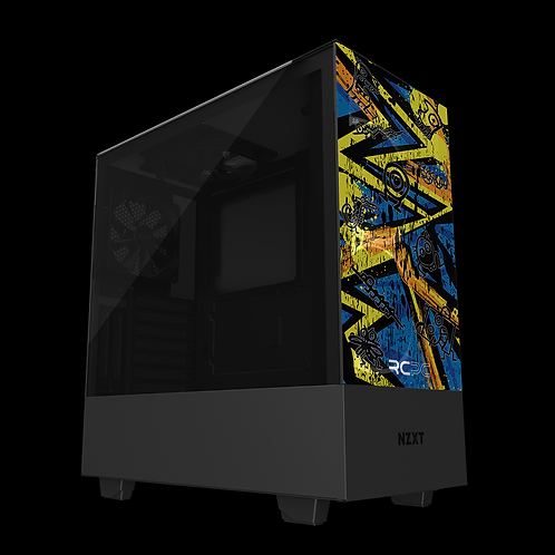 NZXT H510 Elite Yellow-Orange-Blue Abstract Grunge Wrap