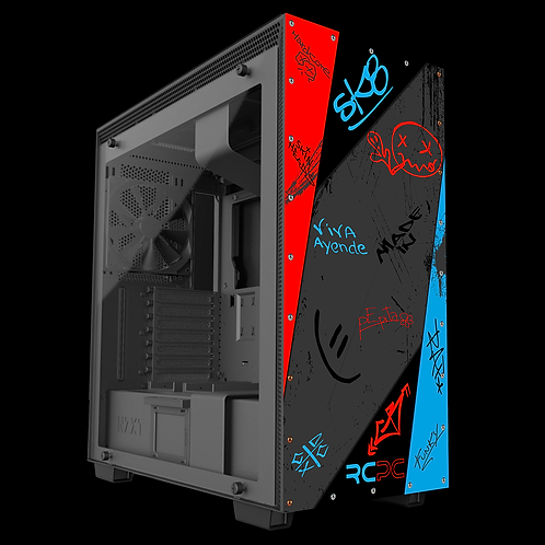 NZXT H710 Red-Turquoise-Black-Grey Graffiti Grunge Wrap