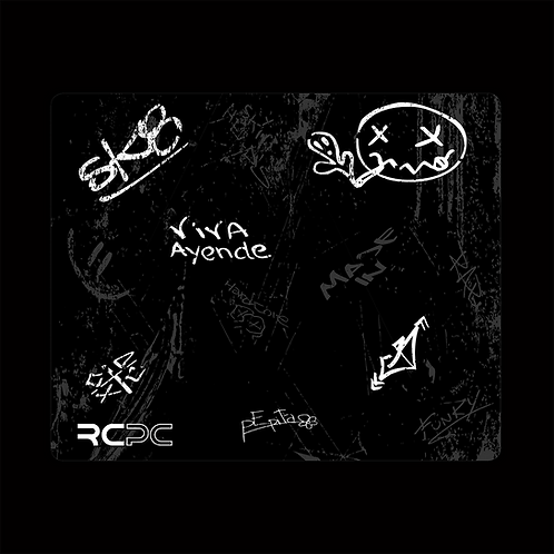 Black-White-Grey Graffiti Grunge Mouse Pad