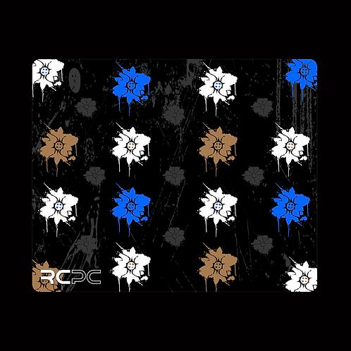 Blue-Black-Brown-White-Grey Floral Grunge Mouse Pad