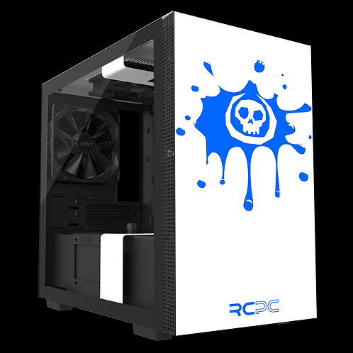 NZXT H210 White-Blue Skull Splat Wrap