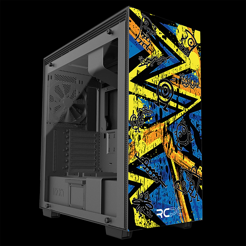NZXT H710 Yellow-Orange-Blue Abstract Grunge Wrap