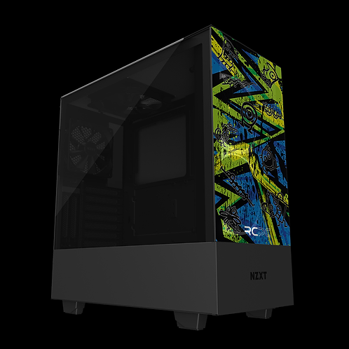 NZXT H510 Elite Zingy Lime-Blue-Lime Abstract Grunge Wrap