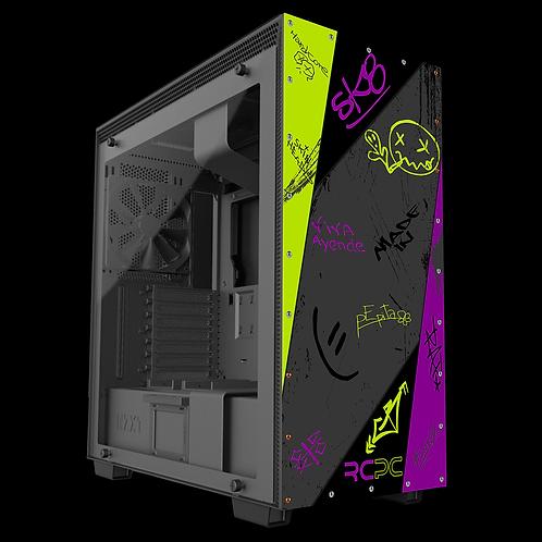 NZXT H710 Zingy Lime-Purple-Grey-Black Graffiti Grunge Wrap
