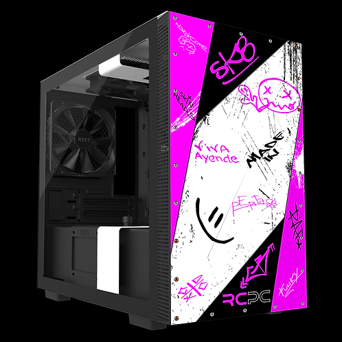 NZXT H210 Pink-White-Black Graffiti Grunge Wrap