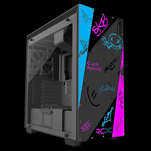 Pink-Turquoise-Black-Grey Graffiti Grunge Wrap