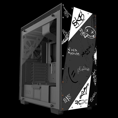 NZXT H710 Black-White-Grey Graffiti Grunge Wrap