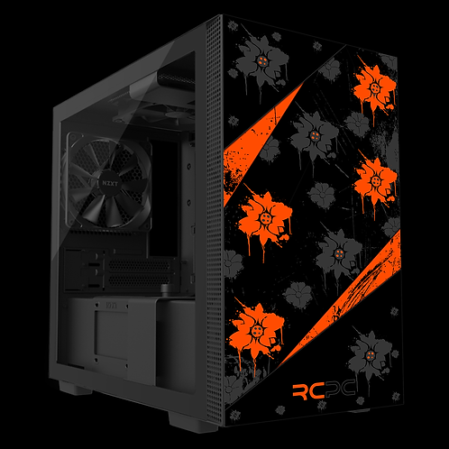 NZXT H210 Orange-Black-Grey Floral Grunge Wrap