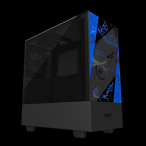 NZXT H510 Elite Blue-Black-Grey Graffiti Grunge Wrap