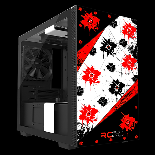 NZXT H210 Red-Black-White Floral Grunge Wrap