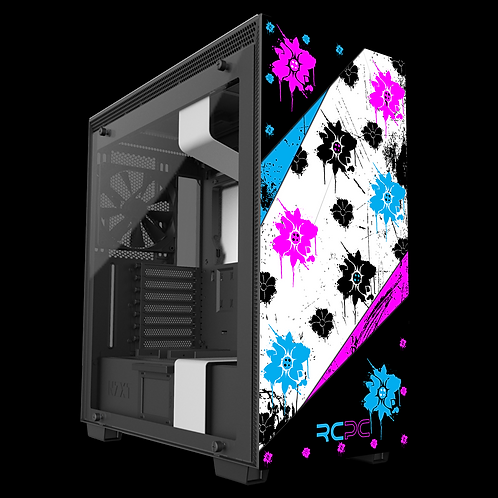 NZXT H710 Turquoise-Pink-Black-White Floral Grunge Wrap