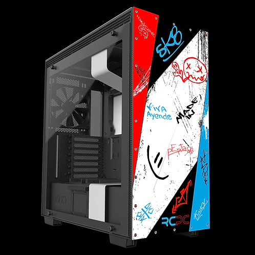 NZXT H710 Red-White-Turquoise-Black Graffiti Grunge Wrap