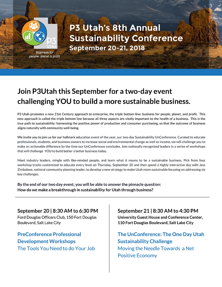 P3 Utah 8th Annual Sustainability Sponso