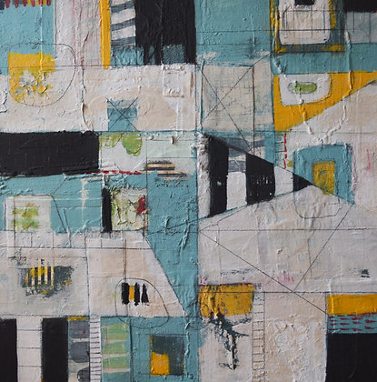 Geometric, abstract, mixed-media painting