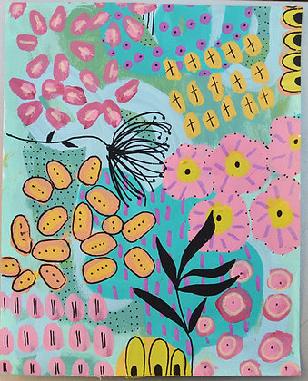 JoyousTwo, abstract flowers on paper, framed, art for the home