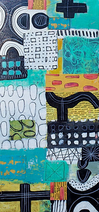 Wacky, abstract, mixed media painting on recycled wood board