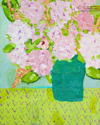 "SOLD Hydrangea, 24"" x 30"" abstract floral"
