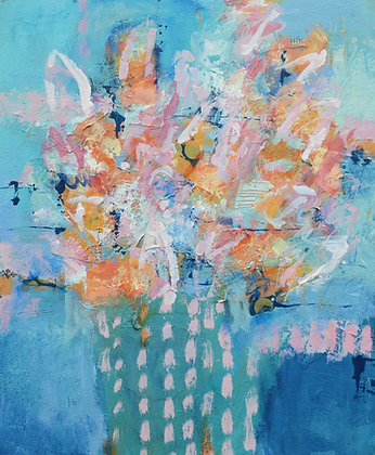 "WildBlue, 20"" x 24"" Abstract Flowers Colorful Painting, Art for the Home"