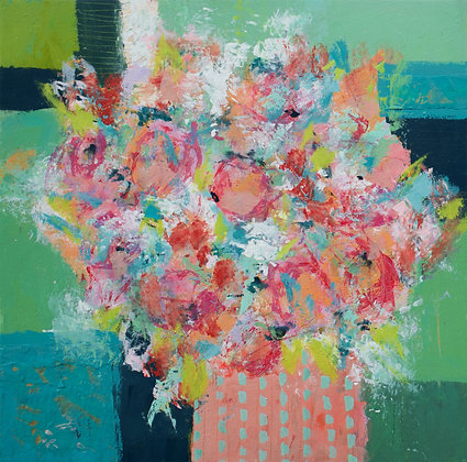 "Leap of Faith, 24"" x 24"" Abstract Floral Painting, Colorful, Art for the Home"