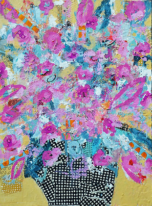 Bright Day, abstract floral painting, art for the home