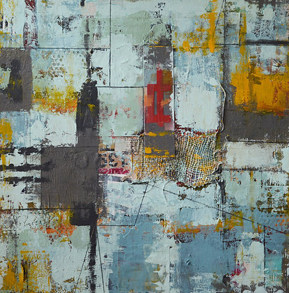 SOLD- BLUE, abstract, mixed-media painting