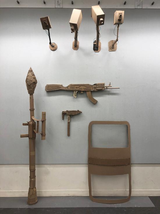 Surveillance x Artillery, Cardboard, installation, 2020