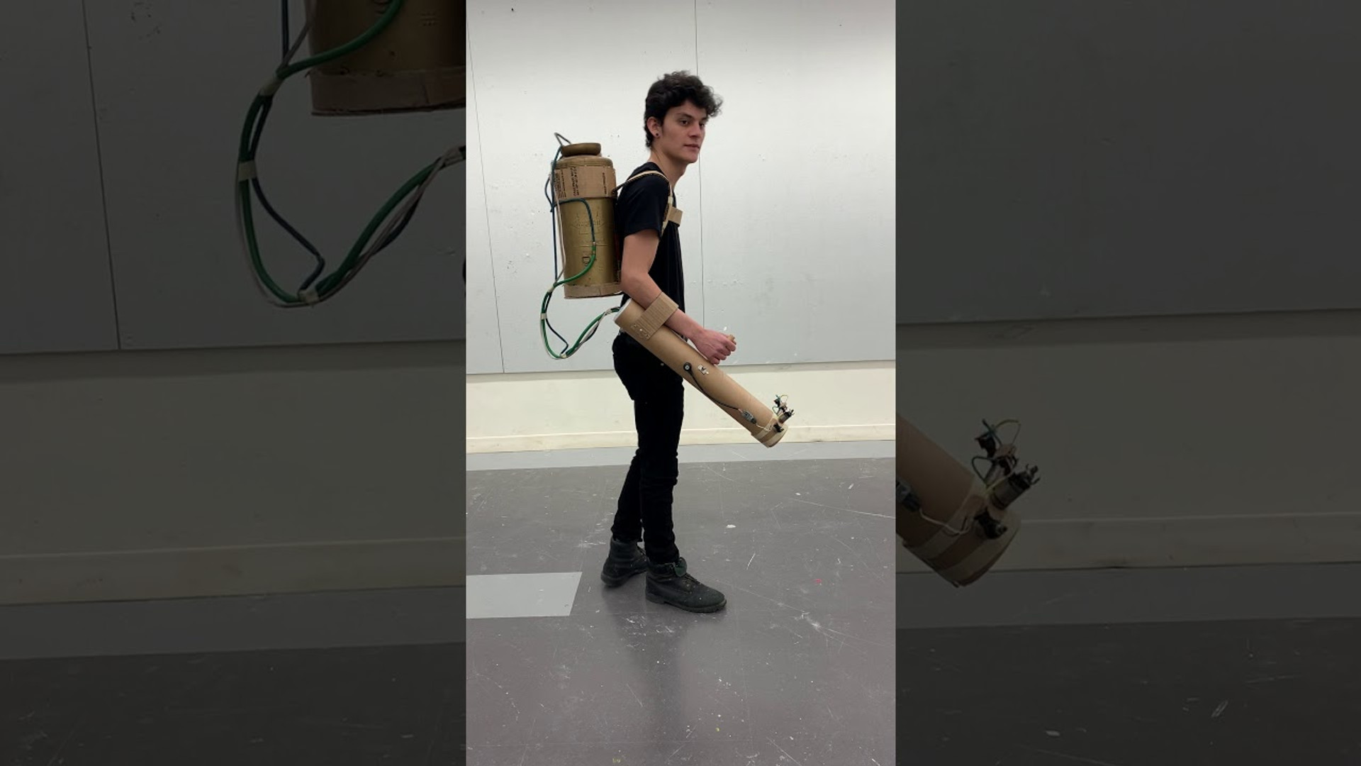 Flamethrower, Found objects and Cardboard, wearable, 2020