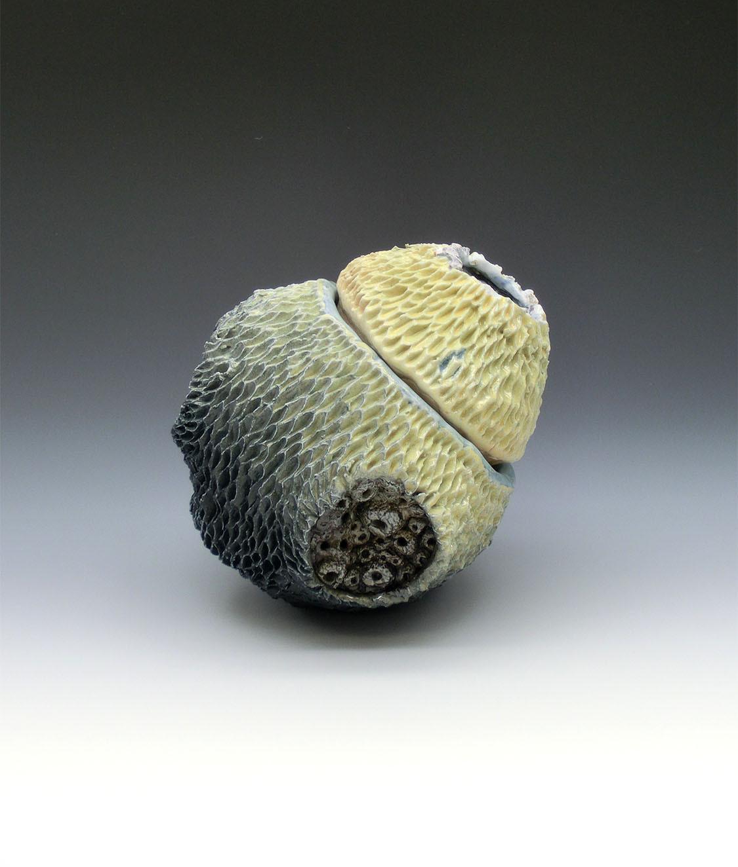 Coral Jar 1, Coleman porcelain, black slip, mason stain, glaze, cone 10 atmospheric fired, 5x4.5x4.5, 2020