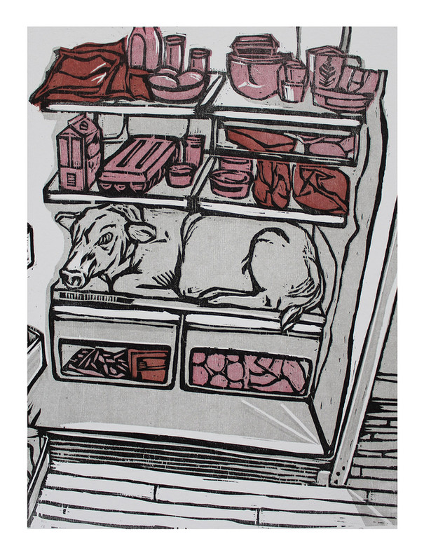 """Do You Want To Eat Animals?, Woodblock Print, 15""""x12"""", 2020"""