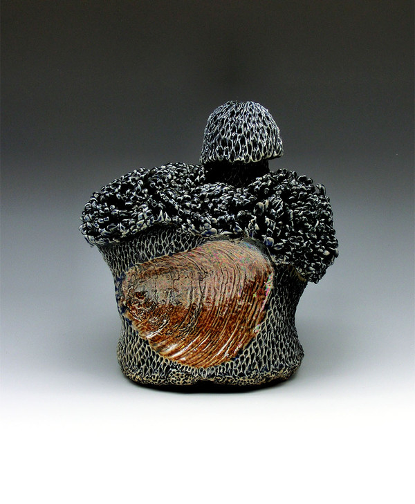 Siren's Vice 2, Domestic porcelain, black slip, mason stain, mother of pearl luster, glaze, cone 10 atmospheric fired, 5.5x5x3.5, 2020