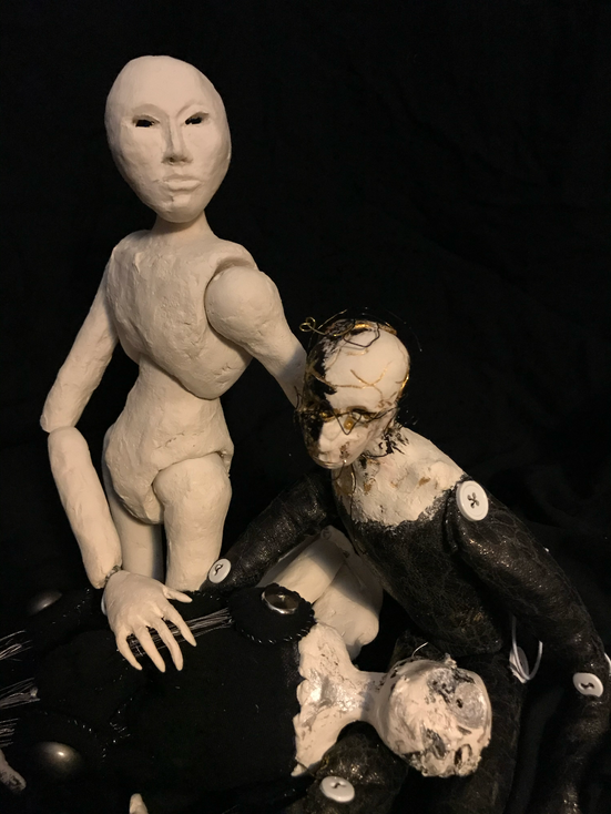 Weight of the World, cotton, paper clay, steel, elastic, found objects