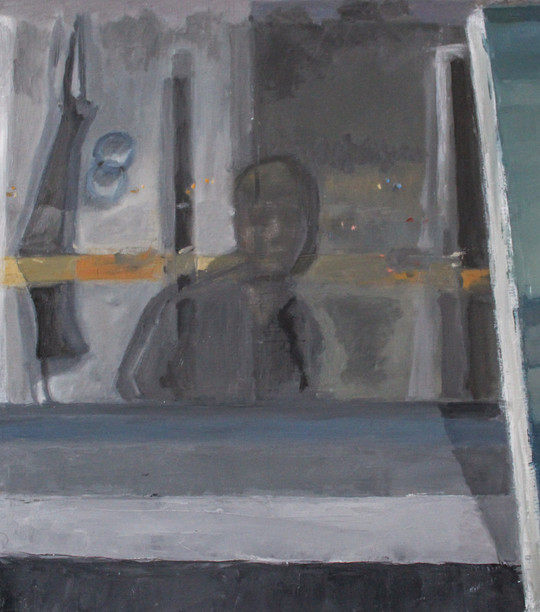 """Self Portrait in Window with Painting, 10""""x9"""", 2020"""