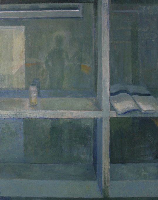 """Windowsill with Book and Jar, Oil on Canvas, 60""""x48"""", 2020"""