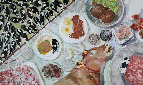 """The Government Decides What You Eat, Oil, Watercolor, Ink, Colored Pencil, Photo Transfers and Collaged Images, 30""""x40"""", 2020"""