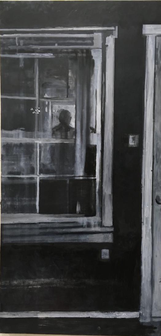 """Black Angel, Oil on Wood Panel, 26""""x 50"""", 2020"""