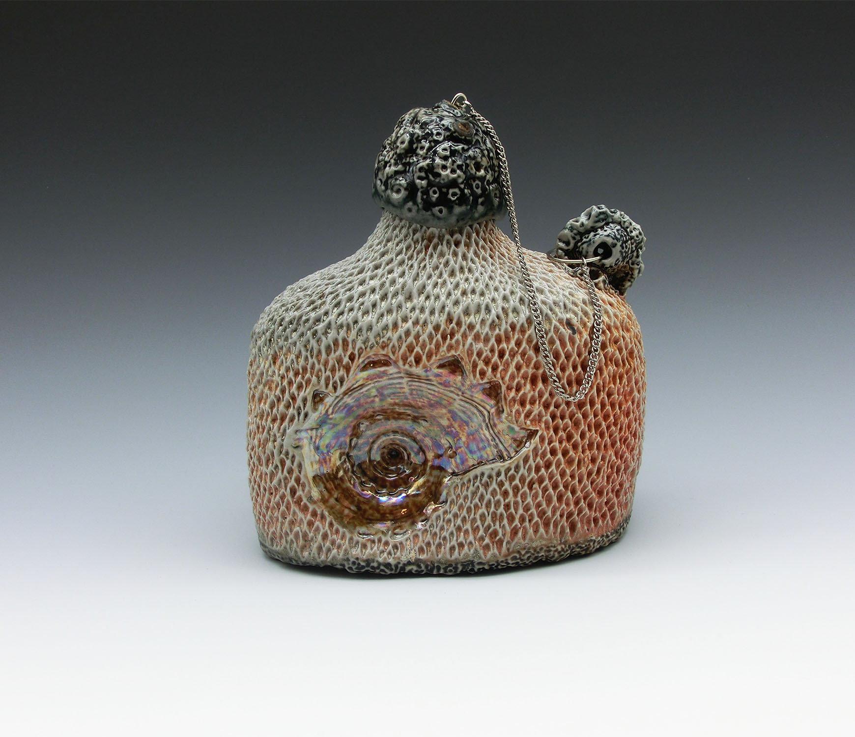 Siren's Vice 3, Domestic porcelain, black slip, mason stain, mother of pearl luster, glaze, cone 10 atmospheric fired, chain, 5x5x2.5, 2020